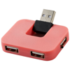Gaia 4-port USB hub in pink