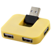 Gaia 4-port USB hub in yellow