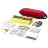 Handies 46-piece first aid kit and safety vest in red