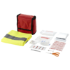 18 piece first aid kit and professional safety vest in red