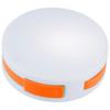 Round 4-port USB hub in white-solid-and-orange