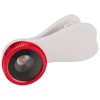 Fish-eye smartphone camera lens with clip in red