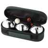 Jose 3-ball pétanque set in green-and-silver
