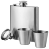Texas 175 ml hip flask with two shot tumblers in silver