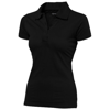 Let short sleeve women's jersey polo in black-solid