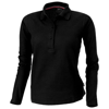 Point long sleeve women's polo in black-solid