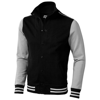 Varsity sweat jacket in black-solid-and-grey
