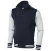 Varsity sweat jacket in navy-and-off-white