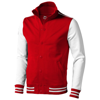 Varsity sweat jacket in red-and-off-white