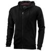 Open full zip hooded sweater in black-solid
