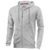 Open full zip hooded sweater in grey-melange