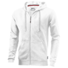 Open full zip hooded sweater in white-solid