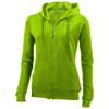 Open full zip hooded ladies sweater in apple-green