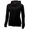 Open full zip hooded ladies sweater in black-solid