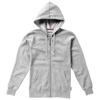 Open full zip hooded ladies sweater in grey-melange