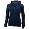 Open full zip hooded ladies sweater in navy