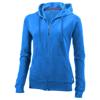 Open full zip hooded ladies sweater in sky-blue