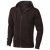 Arora hooded full zip sweater in chocolate-brown