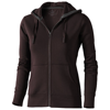 Arora hooded full zip ladies sweater in chocolate-brown