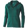 Arora hooded full zip ladies sweater in forest-green