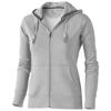 Arora hooded full zip ladies sweater in grey-melange