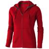Arora hooded full zip ladies sweater in red