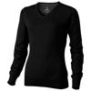 Spruce ladies V-neck pullover in black-solid