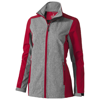 Vesper ladies softshell jacket in red-and-heather-charcoal