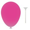 12 Inch Latex Balloons with Cup and Stick in pink