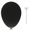 10 Inch Latex Balloons with Cups and Sticks in black
