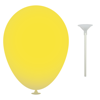 10 Inch Latex Balloons with Cups and Sticks in yellow
