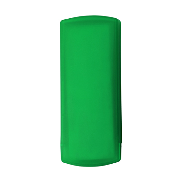 Plastic case with five plasters in light-green