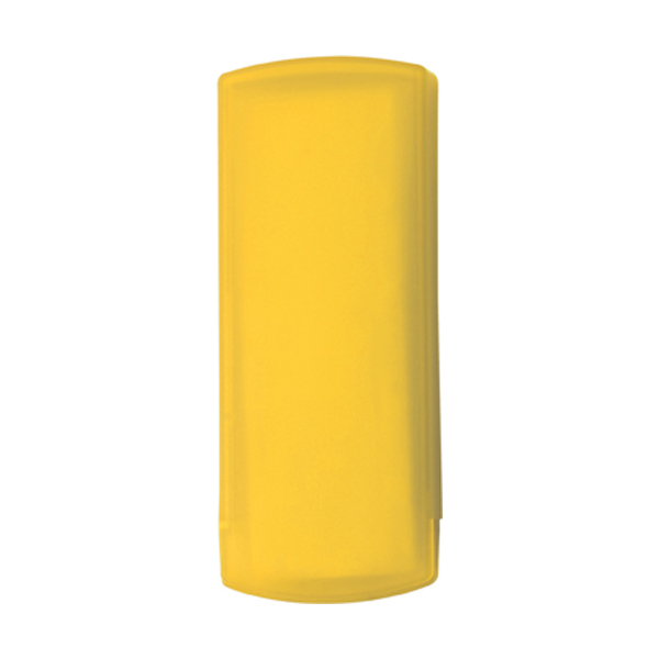 Plastic case with five plasters in yellow