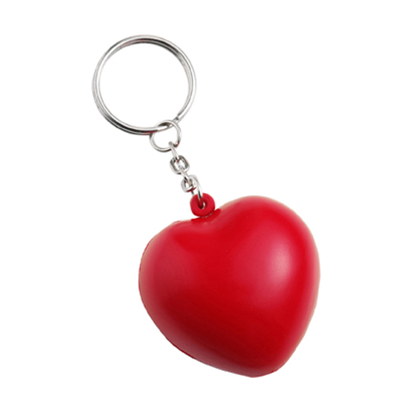 Anti stress heart and key holder in red