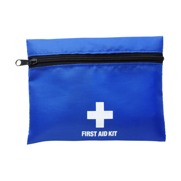 First aid kit in a nylon pouch in cobalt-blue