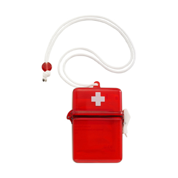 Waterproof first aid kit in red