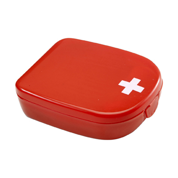 First aid kit in a plastic case in red