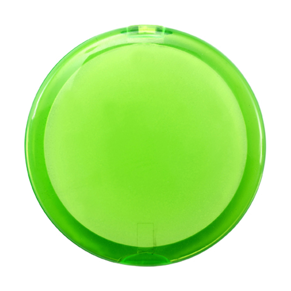 Plastic double pocket mirror. in light-green
