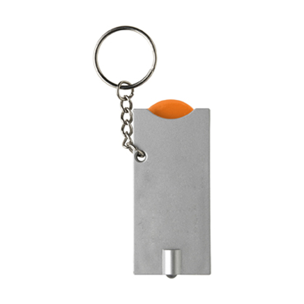 Key holder with coin (€0.50 size) in orange