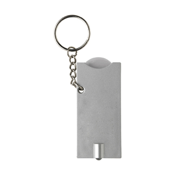 Key holder with coin (€0.50 size) in silver