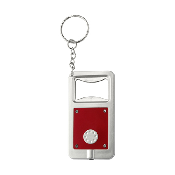Bottle opener with LED light in red