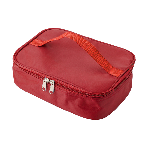 Cooler bag in a polyester material with a plastic with lunch box. in red