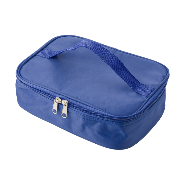 Cooler bag in a polyester material with a plastic with lunch box. in royal-blue