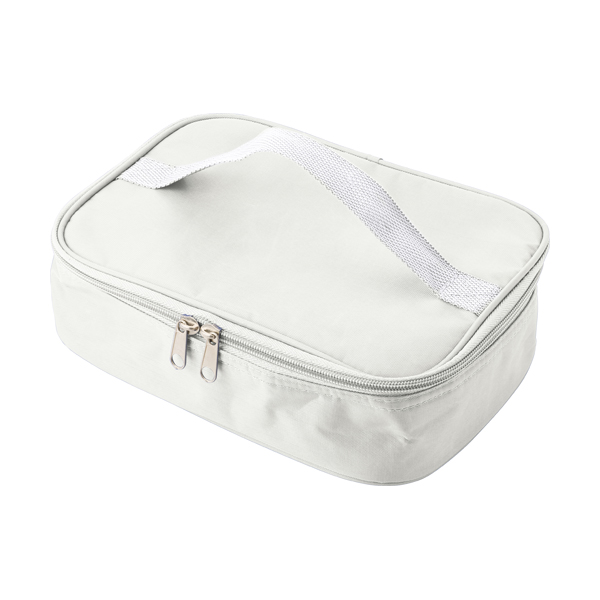 Cooler bag in a polyester material with a plastic with lunch box. in white