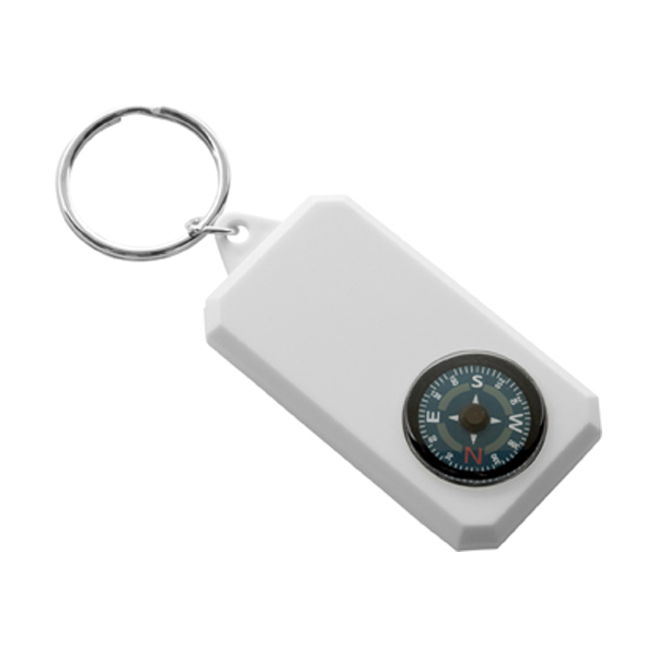 Plastic key holder compass. in white