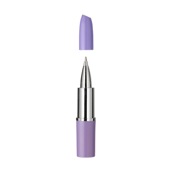 Lipstick ballpen with blue ink in purple