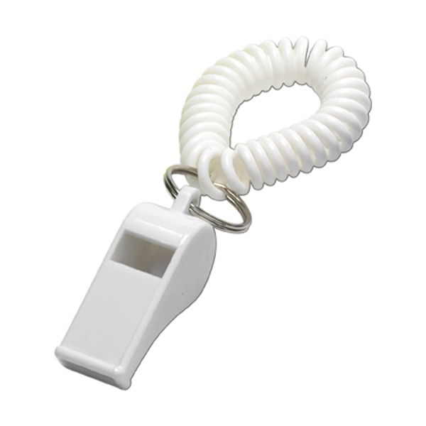 Whistle with wrist cord in white