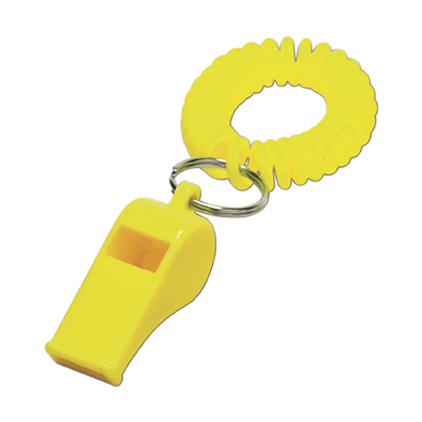 Whistle with wrist cord in yellow