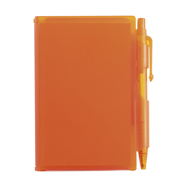 Notebook with pen in orange
