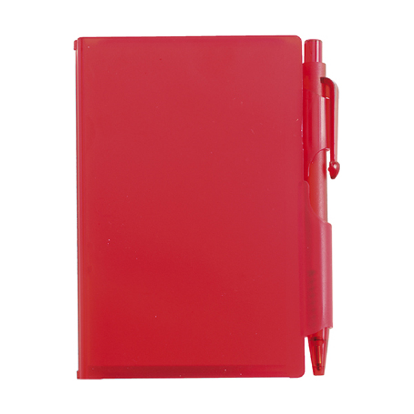 Notebook with pen in red